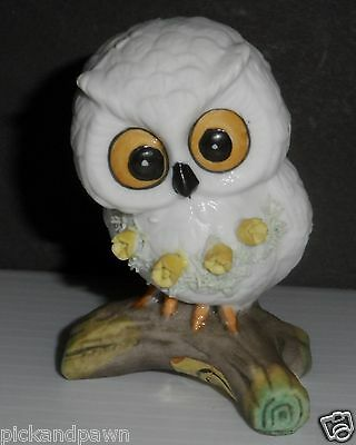 Enesco Small White Snowy Owl on a Branch Yellow Flowers Porcelain Figurine