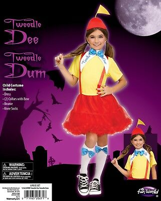Girls Tweedle Dee Tweedle Dum Alice in Wonderland Dress Up Halloween Costume