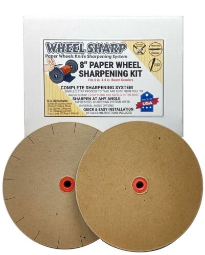 Wheel Sharp 8 in. Paper Wheel Knife Sharpening Kit for 6 in. Grinders USA MADE