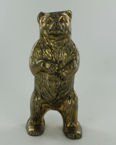 "Vintage Bear Standing on Hind Legs Bank - Brass - 5.75"" Tall"