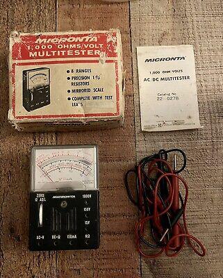 Vintage Micronta 8 Range Multitester 22-212a 2000 Ohms Volt Leads Box Manual