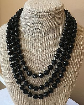 """Vintage Black Faceted & Round Glass Bead Single Strand Necklace 63"""" Long"""
