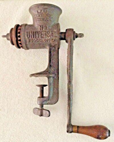 Antique No 1 Universal Cast Iron Food Chopper Meat Grinder New Britain Pat 1899