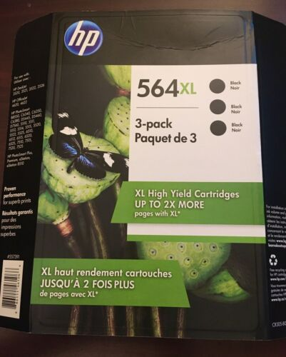 HP 564XL Black High Ink Cartridges 3 Pack Exp 05/2023 OEM Genuine 564 XL New - $31.00