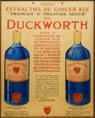 RARE EARLY 20TH C VINT PORTUGUESE AD DUCKWORTH GINGER ALE EXTRACT MANCHESTER UK