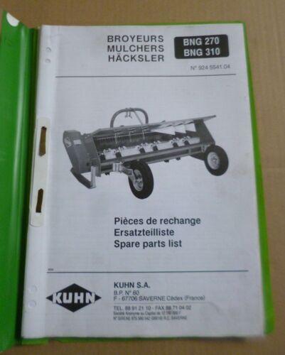 Kuhn Häcksler / Mulcher BNG270 + BNG310 Ersatzteilliste