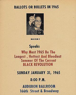 Malcolm X 1965 Speech Flyer Reprint On Original Period 1960s Paper