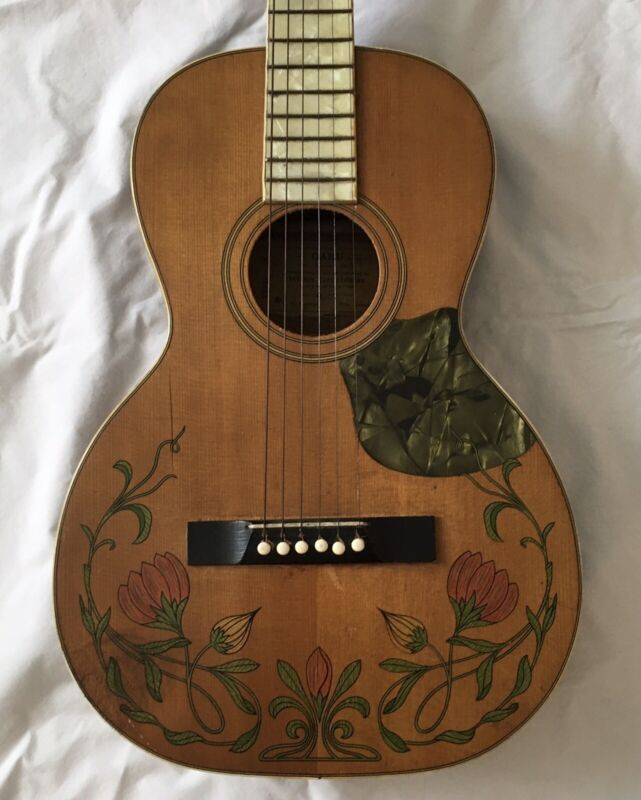 OAHU Acoustic Guitar with floral Inlays Hilo Hawaii Antique - Beautiful!