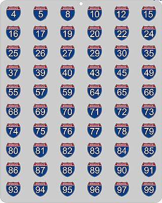 Metal Interstate highway sign with all 66 primary U.S. interstates