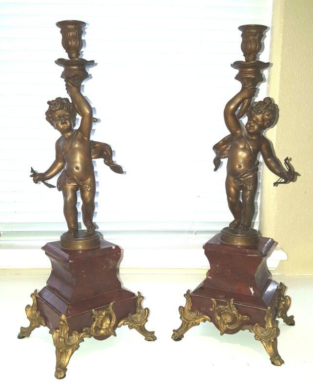Pair Antique Cherub Candleholders