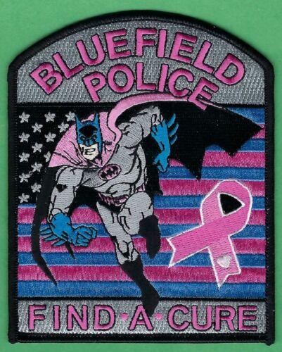 BLUEFIELD VIRGINIA POLICE PINK RIBBON SHOULDER PATCH BATMAN