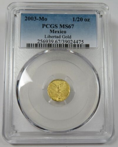 2003-Mo PCGS MS67 Mint State Gold 1/20 oz Libertad Mexico Coin #25282A