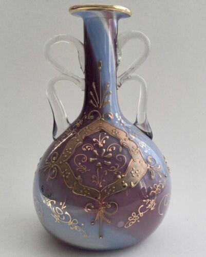 VINTAGE CASED MILK GLASS VASE BEAUTIFULLY  ENAMELLED IN GOLD