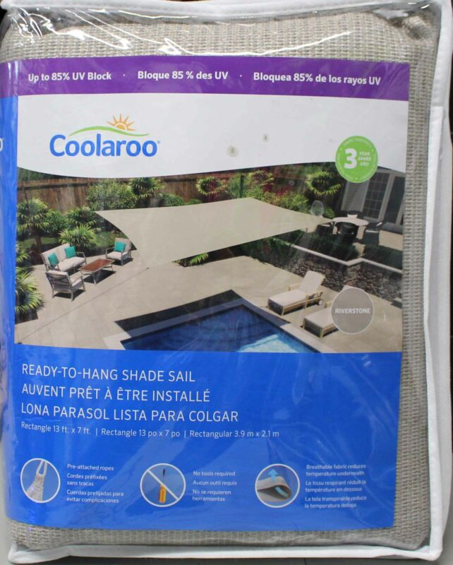 Coolaroo Ready-To-Hang Rectangular Sun Shade 13ft. x 7ft. Riverstone, See Desc!!