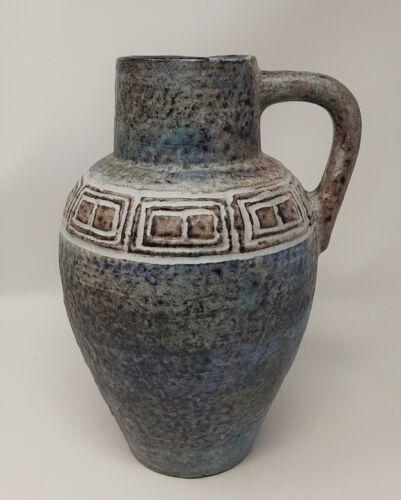 Mid-Century Modern Dutch Van Dijk Albalasserdam Blue Fat Lava Era Jug Vase