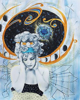 Art Nouveau Vintage Fashion Galaxy Space Nebula  - 11x14 Signed Archival Print