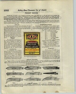 1920 PAPER AD 33 PG Hickory Napanoch Brand Pocket Knife Knives Specs Prices