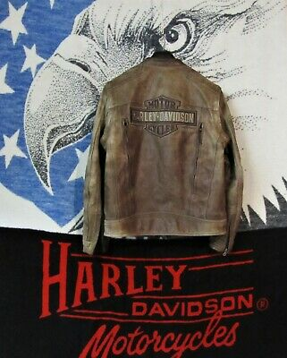 Harley Deadwood  Weathered Brown Leather Convertible Jacket / Vest  Men's Medium