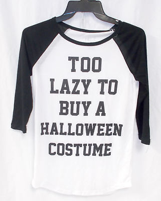 Freeze Raglan Sleeve T Shirt Black White Too Lazy To Buy A Halloween Costume Ju