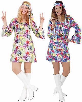 Hippie Flower Power 70er Jahre Kleid kurz Karneval Fasching Kostüm - 70er Jahre Flower Power Kostüm