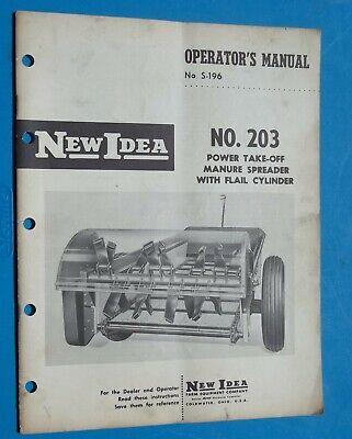 Vintage New Idea Farm Equipment 203 Manure Spreader Operators Manual 1962