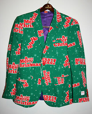 NEW Mens OPPOSUITS Green Merry Christmas Tacky Not Ugly Suit Blazer Jacket  36