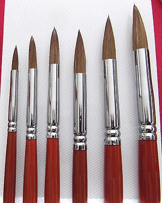 Feinste Künstlerpinsel, rund, Rotmarder, Öl,  Acryl, Aquarell, 6er-Set, Nr.168