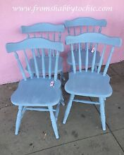 Set of 4 timber kitchen chairs - Seaside Chic Shabby Chic Belmont North Lake Macquarie Area Preview