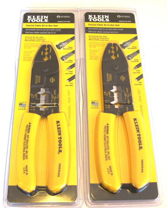 2 KLEIN TOOLS COAXIAL CABLE CRIMPER STRIPPER CUTTING PLIERS RG6 RG59 VDV010-019