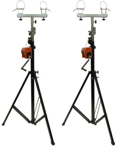 Two (2)xTRUSS 14FT LIGHTING CRANK STANDS 220 LB & UNIVERSAL T ADAPTER DJ PA CLUB