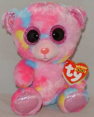 """New! 2018 Ty Beanie Boos FRANKY the Tie Dyed Bear 6"""" size NWT's In Hand!"""