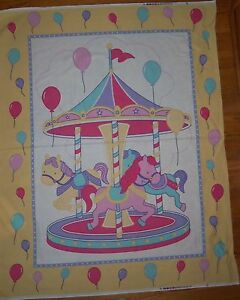 Carousel Merry Go Round Cheater Baby Quilt Fabric Panel