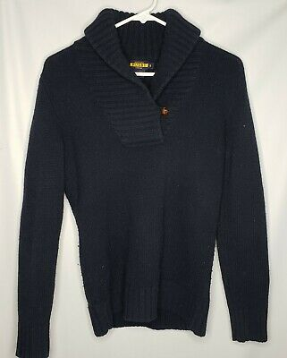 Ralph Lauren Rugby 100% Wool Cardigan Sweater Elbow Patches Sz Small