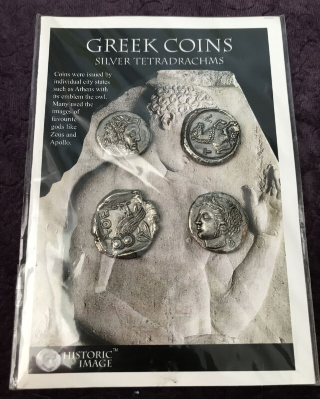 4 One-Sided Ancient Greek Coins Mint in Package MIP Education Resource Replica