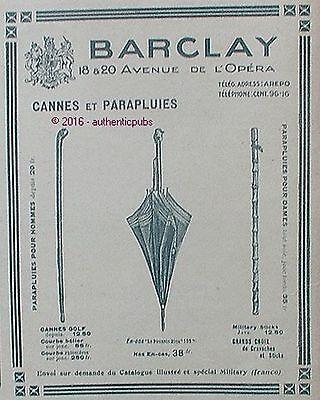 PUBLICITE BARCLAY CANNE GOLF MILITARY PARAPLUIE POUSSIN BLEU DE 1918 FRENCH AD