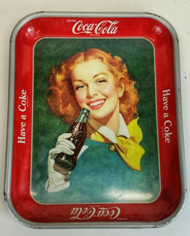 VINTAGE Coca Cola Tray (RED HEAD WITH SCARF)