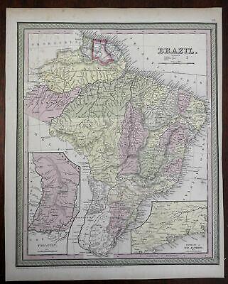 Empire of Brazil Uruguay Paraguay Guyana Uruguay c. 1850 Cowperthwait map