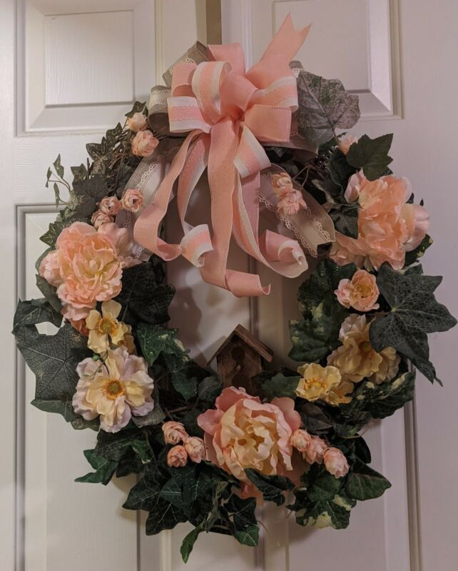 SPRING SUMMER HANDMADE WREATH WALL/DOOR PREMIUM FLORAL AND RIBBON WITH BIRDHOUSE