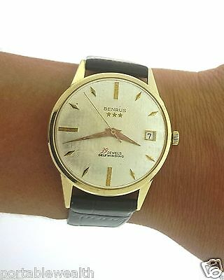 1d9f36f5d99 Vintage Benrus Date Wrist Watch 14K Yellow Gold Gents 39 Jewels Self Winding
