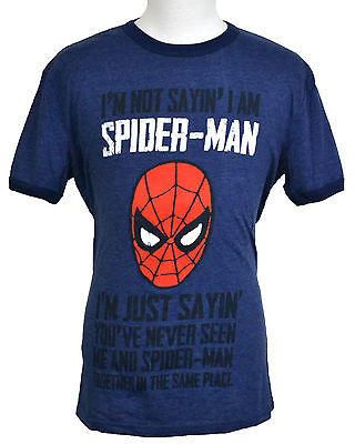 Not Sayin' I Am Spider-Man T-shirt Marvel Superhero Graphic Tee Blue NWT