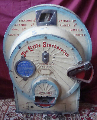 Quirky old penny amusement arcade game, the Little Stockbroker