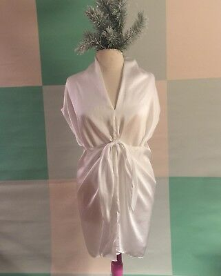 Isda   Co White Silk Flowy Wrap Artsy Top Tunic Medium Large Spring Travel Comfy