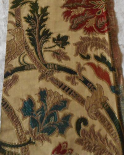 Exquisite 18thc French or Portuguese Silk Brocade Fabric ~ Jacobean Floral Bird
