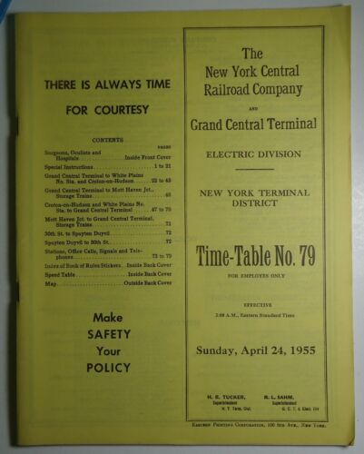New York Central Railroad 1955 Employee Timetable -  Grand Central Terminal #79