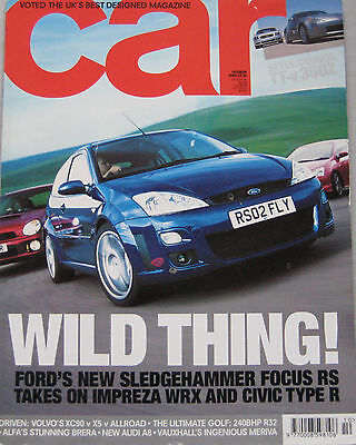 CAR 10/2002 featuring Ford Focus RS, Audi TT, Nissan 350Z, Cadillac, Alfa Romeo