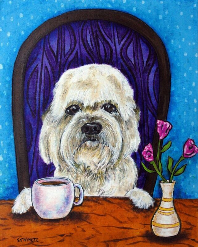 Dandie Dinmont at the coffee shop animal dog pet art PRINT abstract folk pop ART