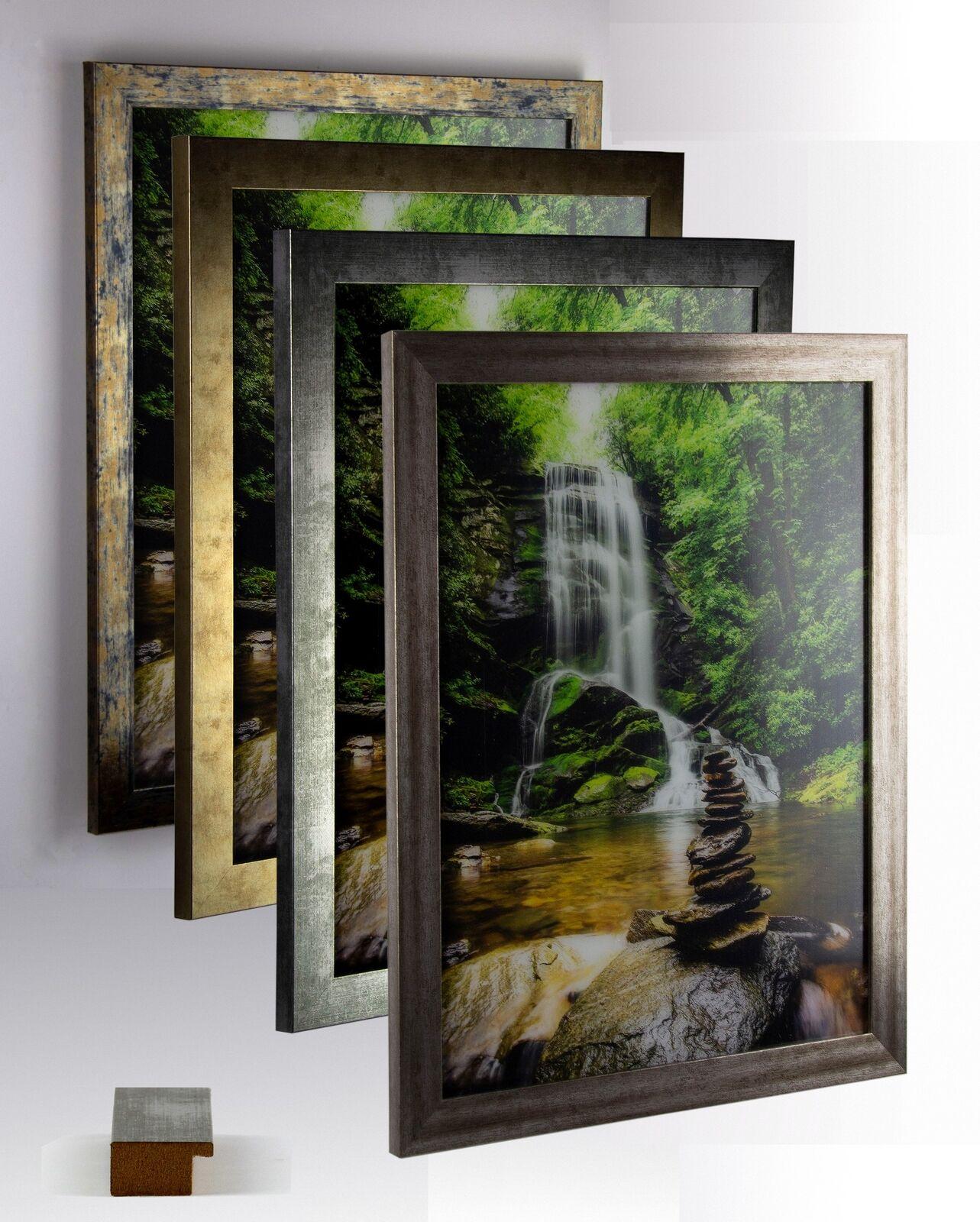 Bilderrahmen MDF Holz Juno Größenwahl DIN A Panorama USA Quadrat Puzzle Vintage