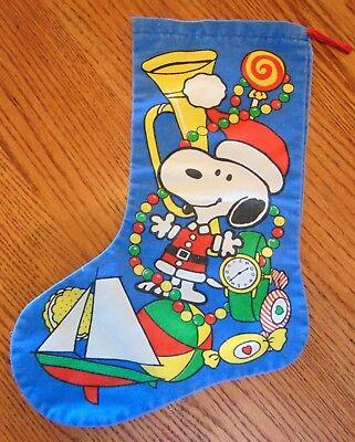 Vintage Peanuts Snoopy Christmas Decoration Hanging Sock, Denim