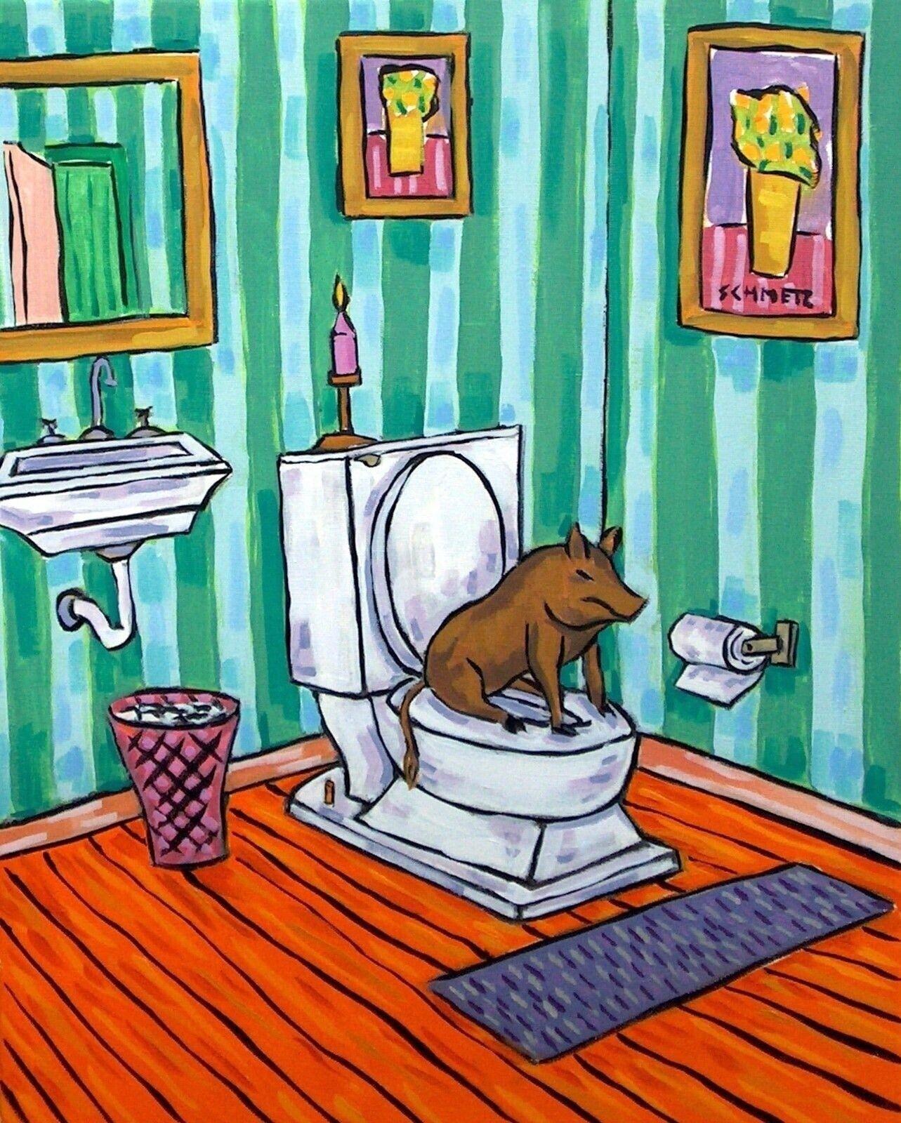 black PIG DIET painting 4x6  GIFT  abstract modern bathroom folk GLOSSY PRINT