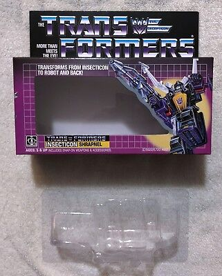 TRANSFORMERS G1 INSECTICONS SHRAPNEL BOX, MANUAL, CARDBOARD BACK & BUBBLE NEW!
